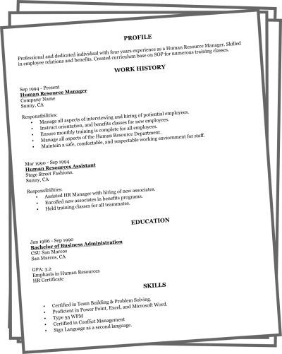 Free easy to do resume